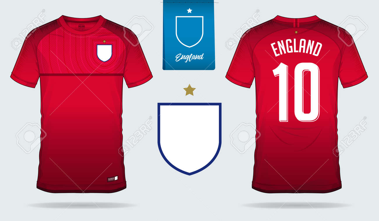 size 40 acb93 17d95 Set of soccer jersey or football kit template design for England..