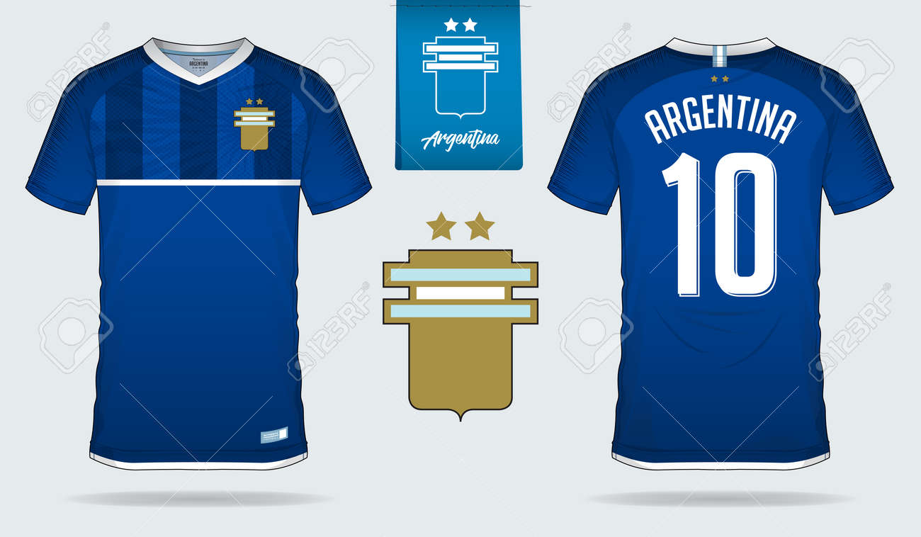 8b5d41f0a0c Set of soccer jersey or football kit template design for Argentina national  football team. Front