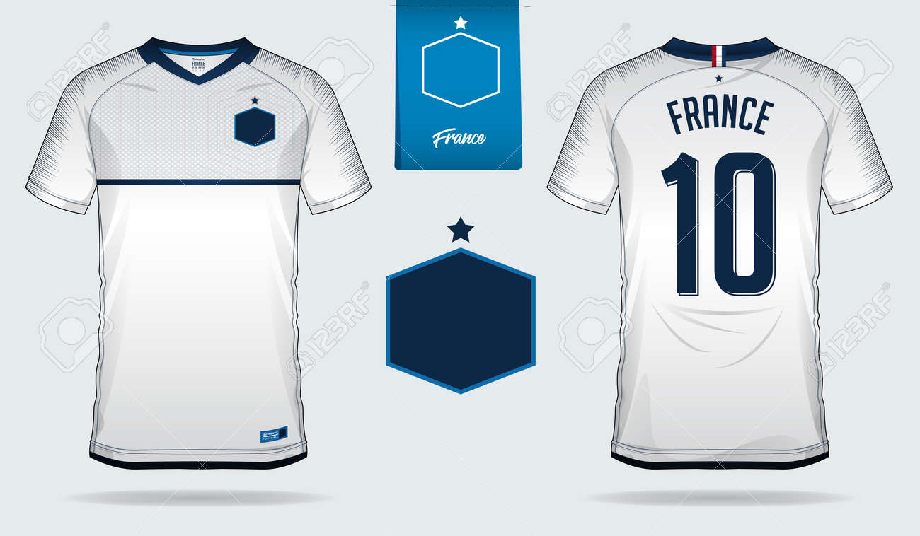 quality design 79ed7 cd3e2 Set of soccer jersey or football kit template design for France..
