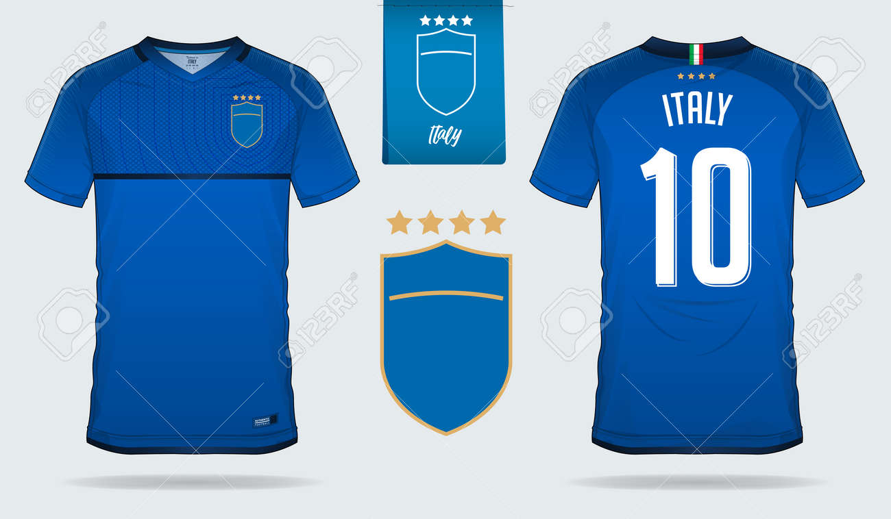 finest selection ba552 9ece7 Set of soccer jersey or football kit template design for Italy..