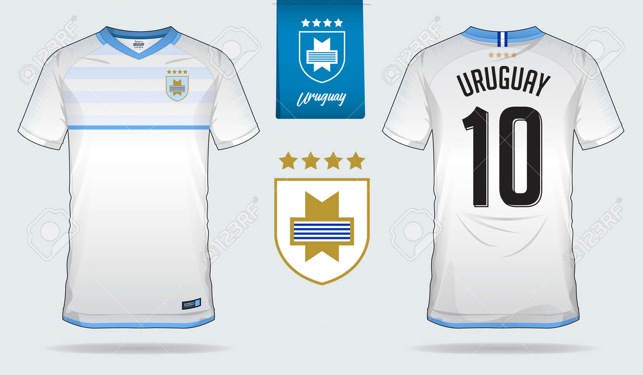 detailed look de7e3 8095c Set of soccer jersey or football kit template design for Uruguay..