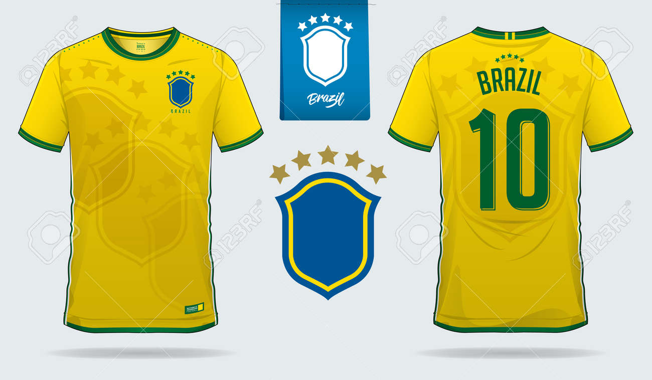 sports shoes 48337 bd4cb Soccer jersey or football kit template design for Brazil national..