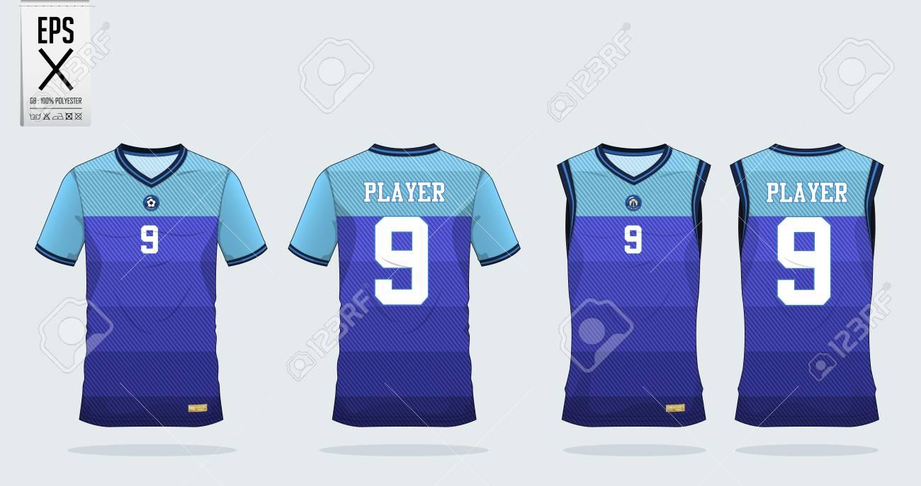 48b506d7e Blue stripe Pattern t-shirt sport design template for soccer jersey