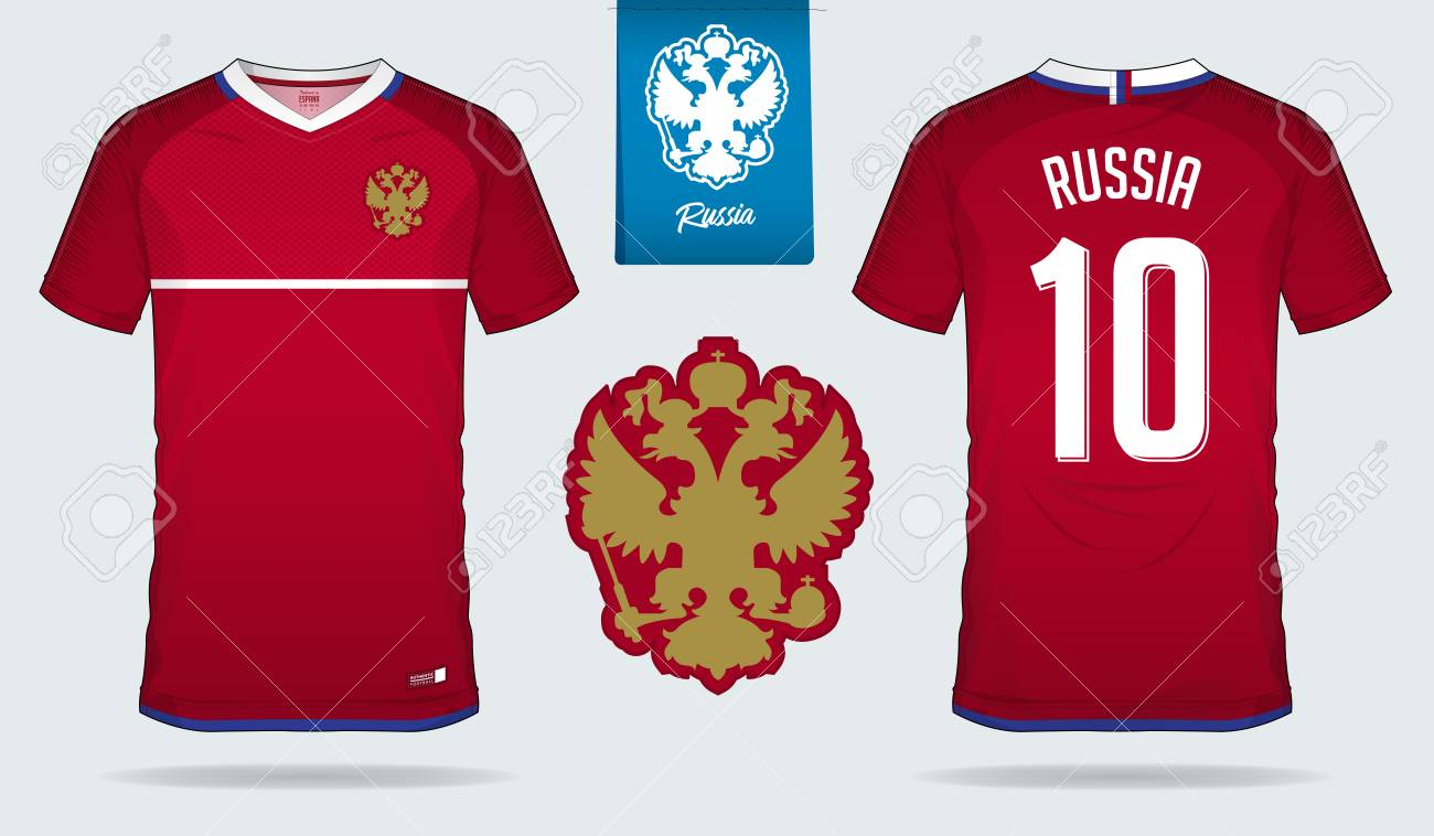 new arrival d79ac 17a71 Soccer jersey or football kit template design for Russia national..