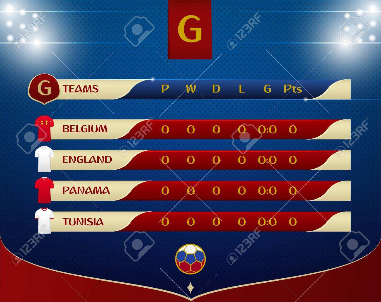 Soccer or football results table template design  Schedule of