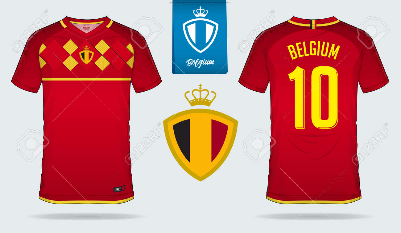 b2b9abeeea5 Soccer jersey or football kit template design for Belgium national football  team. Front and back view soccer uniform. Home and Away Football t shirt  mock up ...