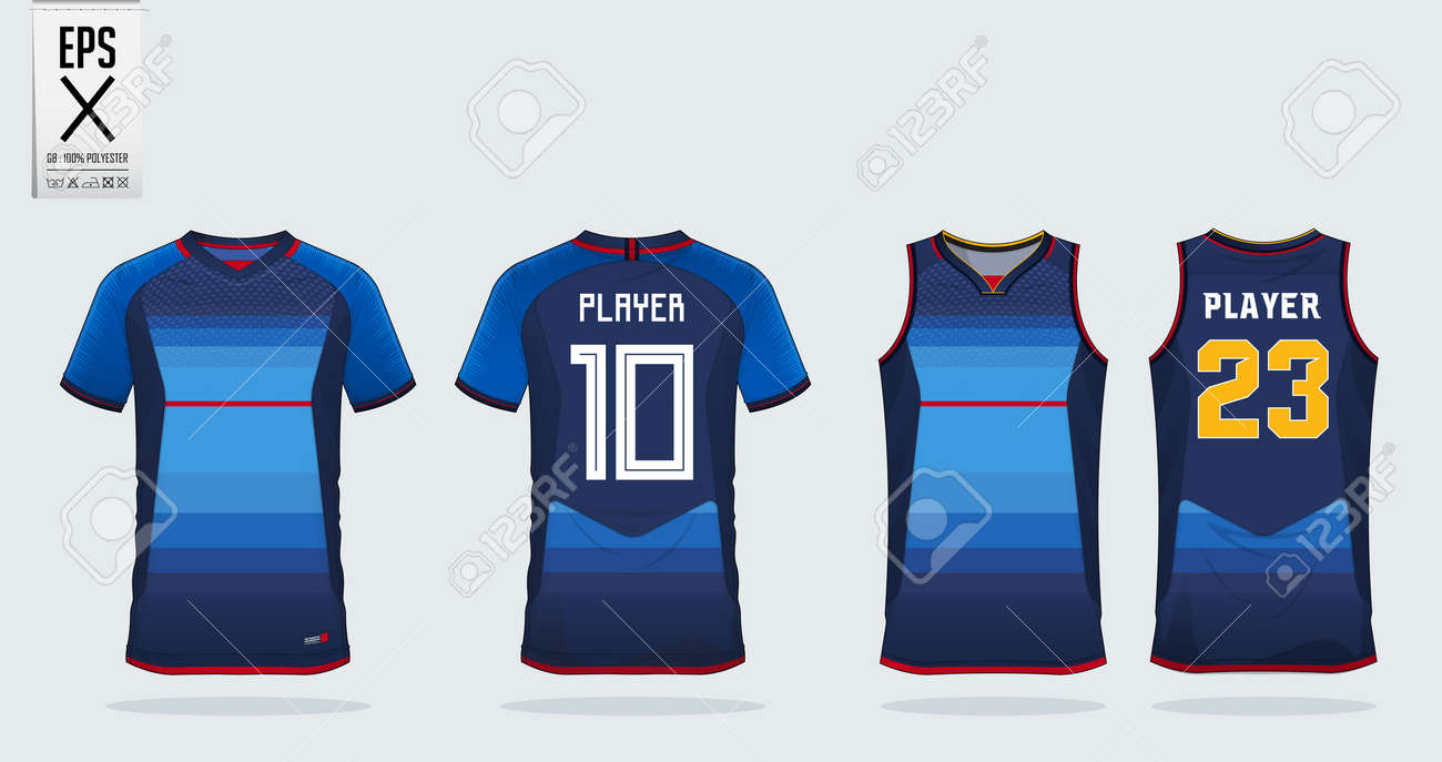 Blue Jersey With Red Stripe Sport Shirt Design Template For Soccer