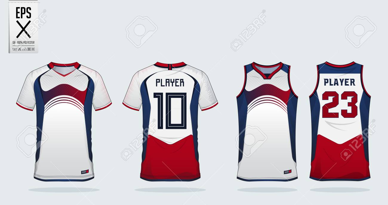 026ac53647b Blue-Red-White sport shirt design template for soccer jersey, football kit  and tank top for basketball jersey. Sport uniform in front and back view.