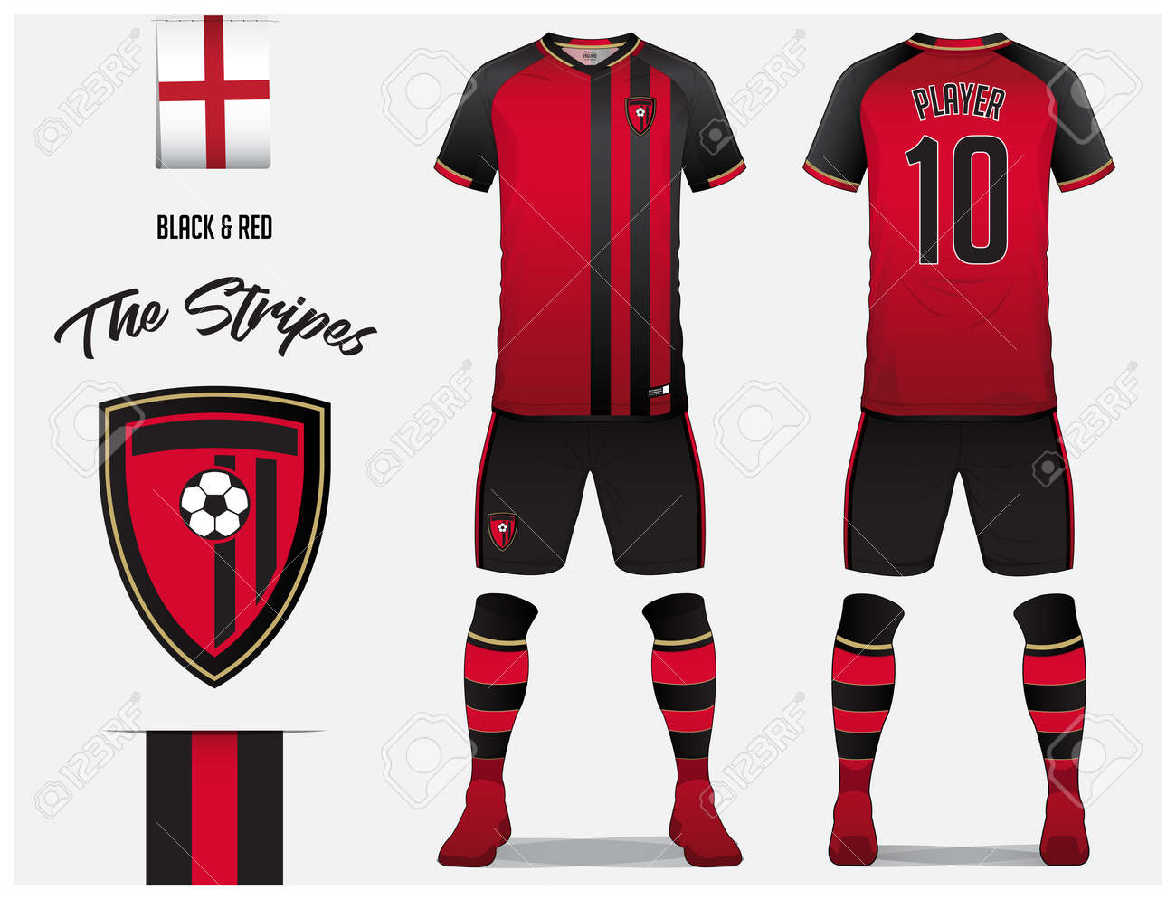 8a87d6202f9 Soccer jersey or football kit template for football club. Red and black  stripe football shirt with sock and short mock up. Front and back view  soccer ...