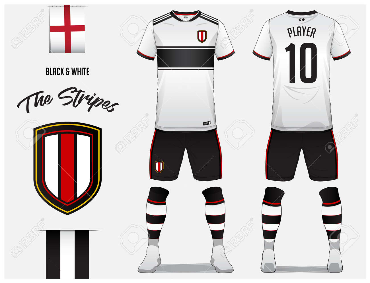 Soccer jersey or football kit template for football club. Black and white  stripe football shirt with sock and short mock up. Front and back view  soccer ... 9bd656244