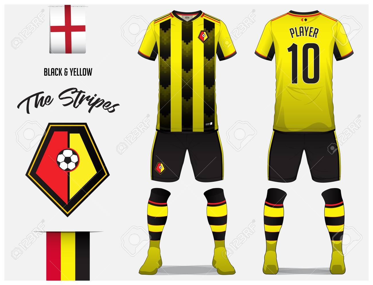 Soccer Jersey Or Football Kit Template For Club Black And Yellow Stripe Shirt
