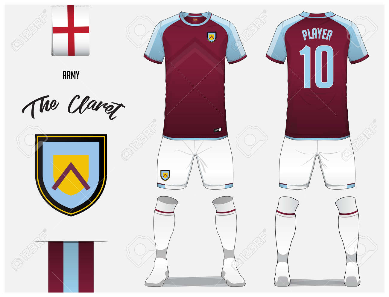 Soccer Jersey Or Football Kit Template For Club Claret Shirt With Sock And