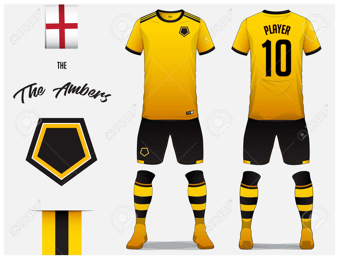 8a6f464b7 Soccer jersey or football kit template for football club. Yellow football  shirt with sock and