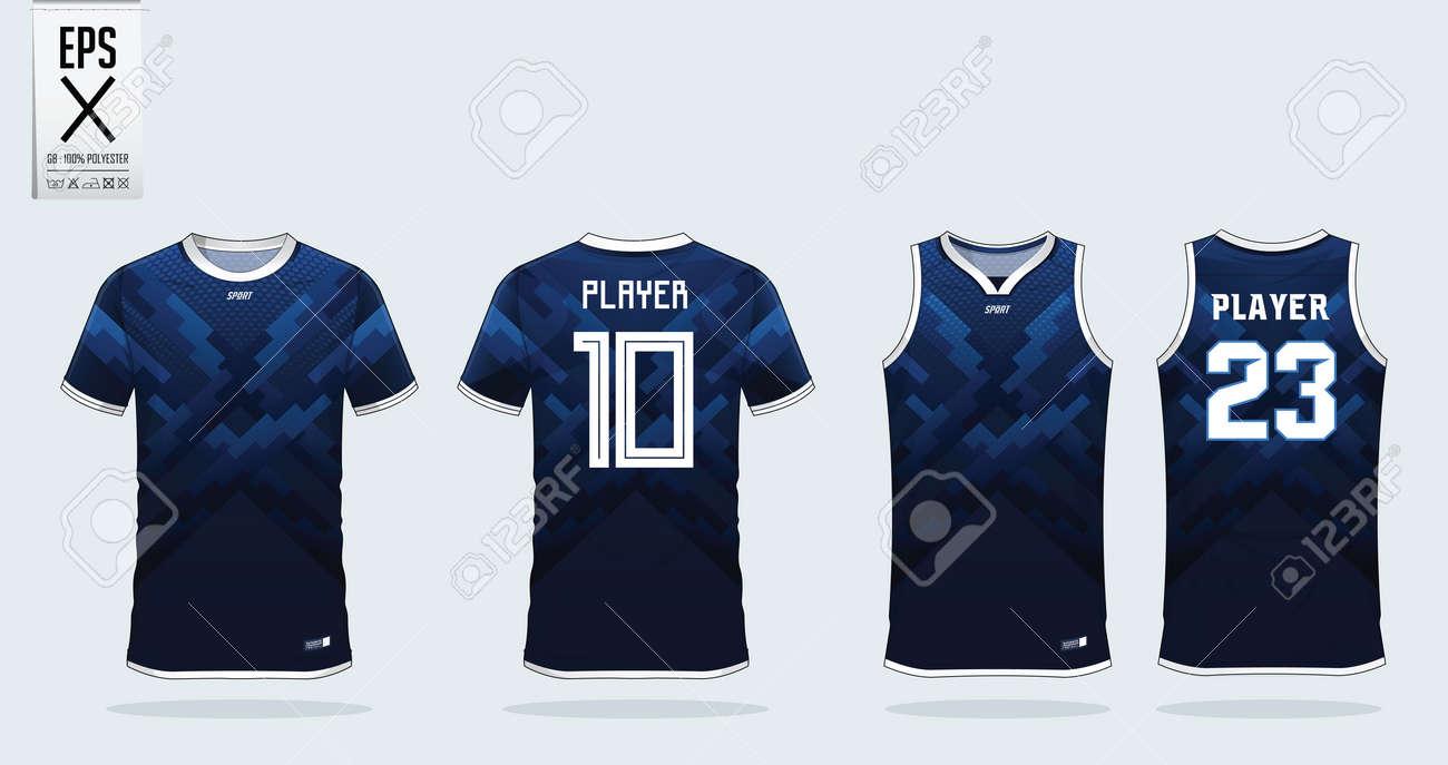 Blue Zigzag Pattern T Shirt Sport Design Template For Soccer