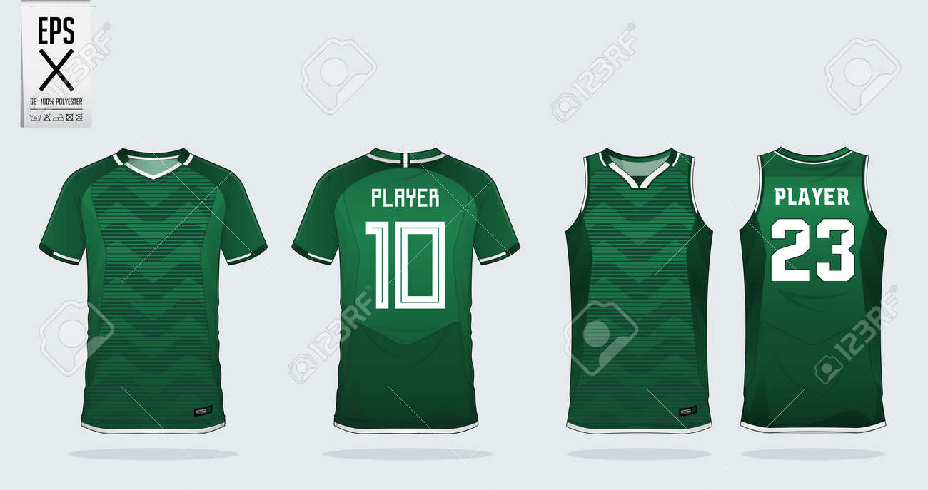 df384837c Green zigzag pattern t-shirt sport design template for soccer jersey,  football kit and tank top for basketball jersey. Sport uniform in front and  back view.