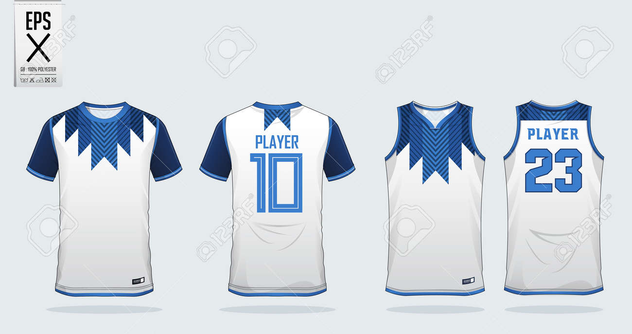 f6a6e0256 Blue and white t-shirt sport design template for soccer jersey, football  kit and tank top for basketball jersey. Sport uniform in front and back  view.