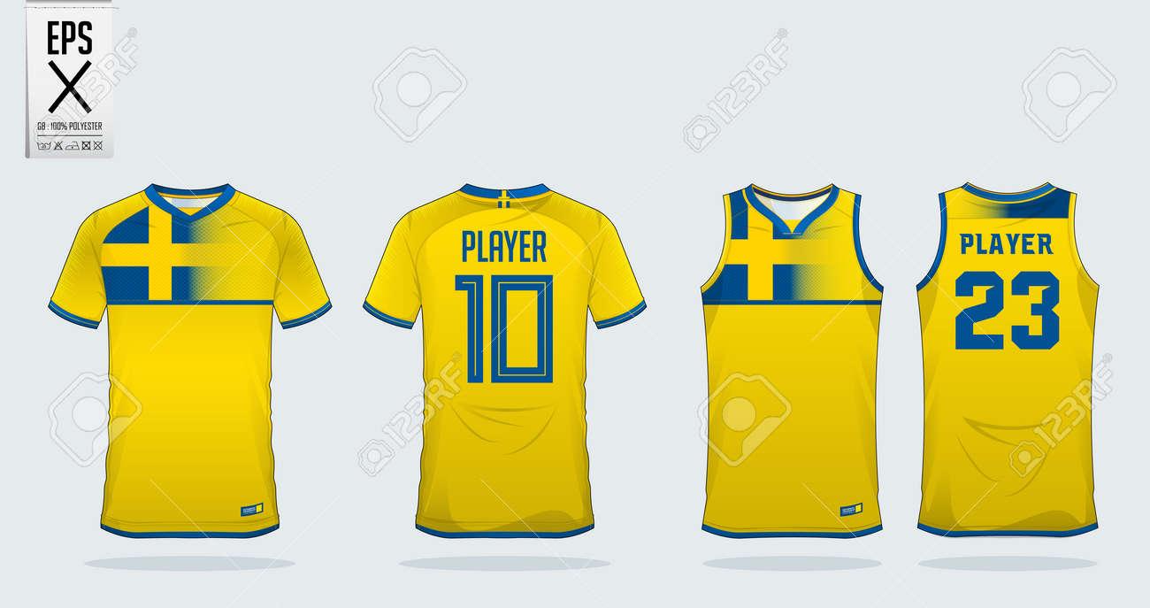 5b30d9b6d Blue And Yellow T-shirt Sport Design Template For Soccer Jersey ...