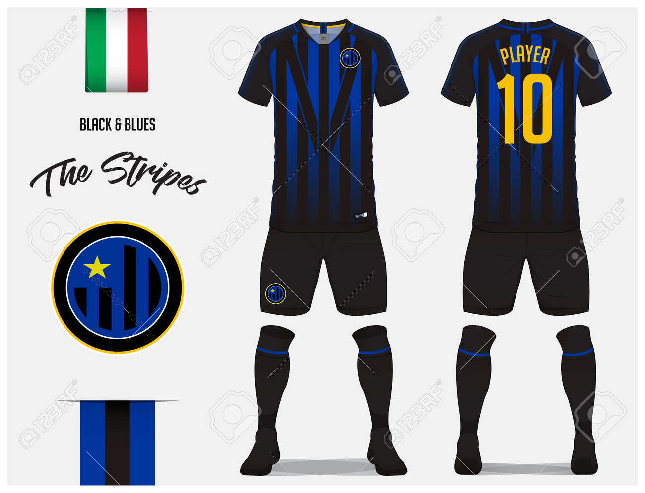 738bb9a06e93 Soccer jersey or football kit template for football club. Blue and black  stripe football shirt with sock and blue shorts mock up. Front and back  view soccer ...