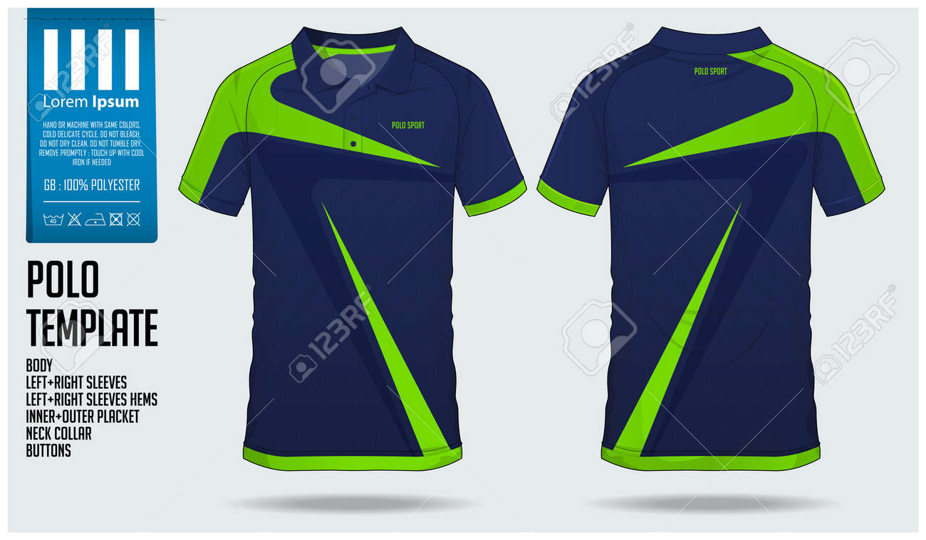 9624e4c4 Blue and green stripe Polo t-shirt sport template design for soccer jersey,  football kit or sportswear. Sport uniform in front view and back view.
