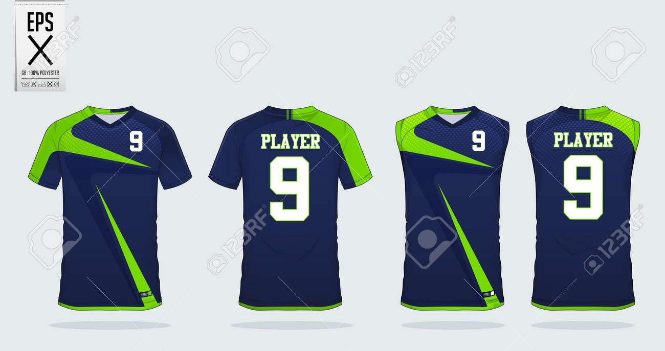 6f8eeb83d111 Blue And Green T-shirt Sport Design Template For Soccer Jersey ...