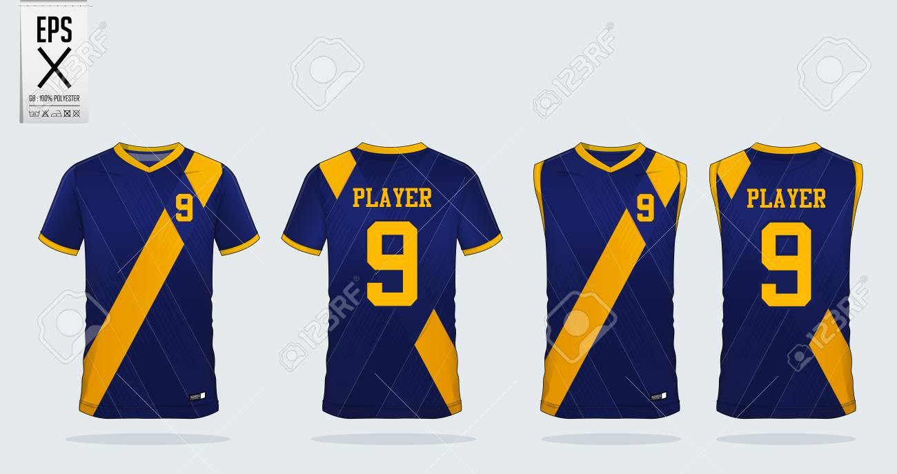 a4968438258 Blue and yellow T-shirt sport design template for soccer jersey, football  kit and tank top for basketball jersey. Sport uniform in front and back  view.