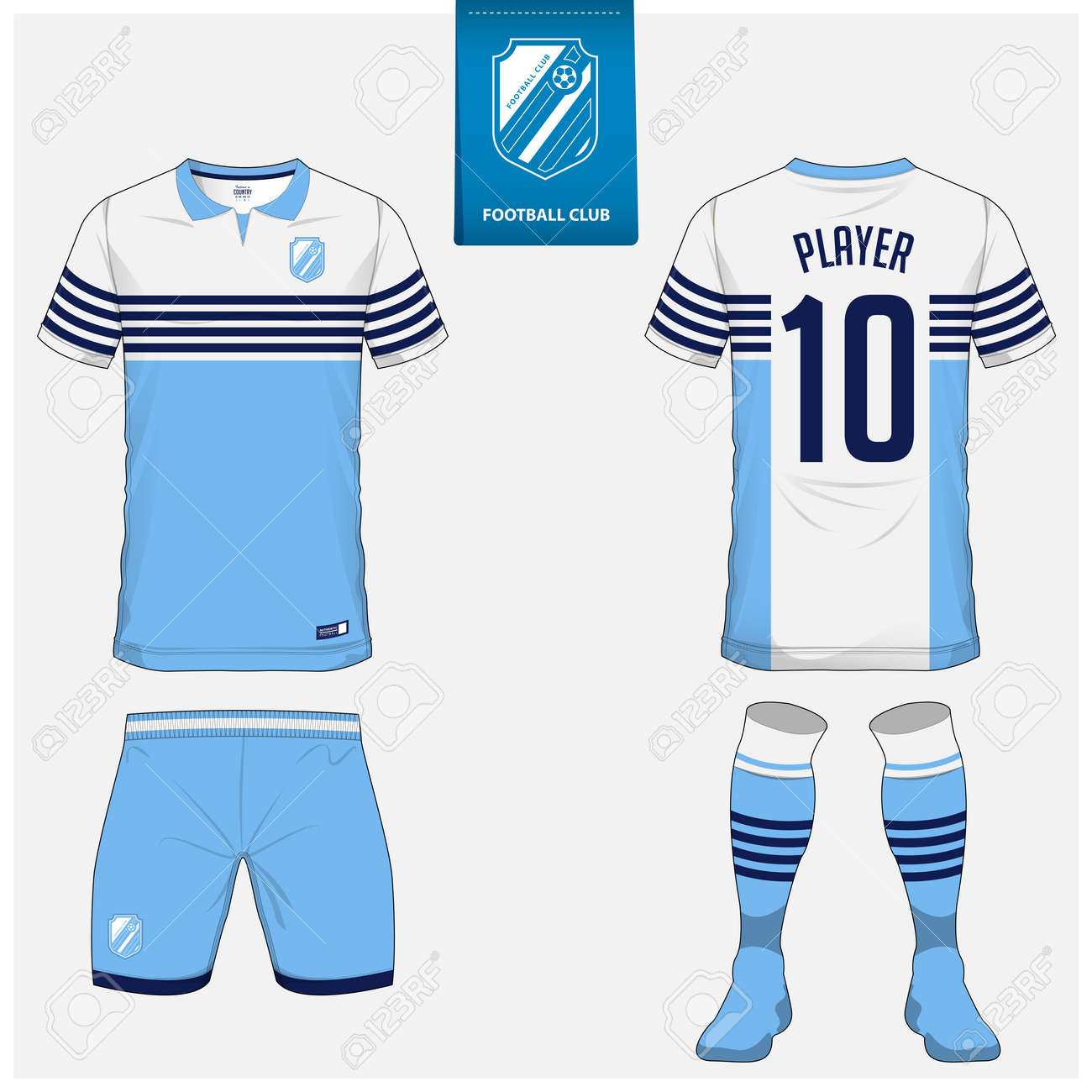 Soccer jersey or football kit, shorts, sock template design for