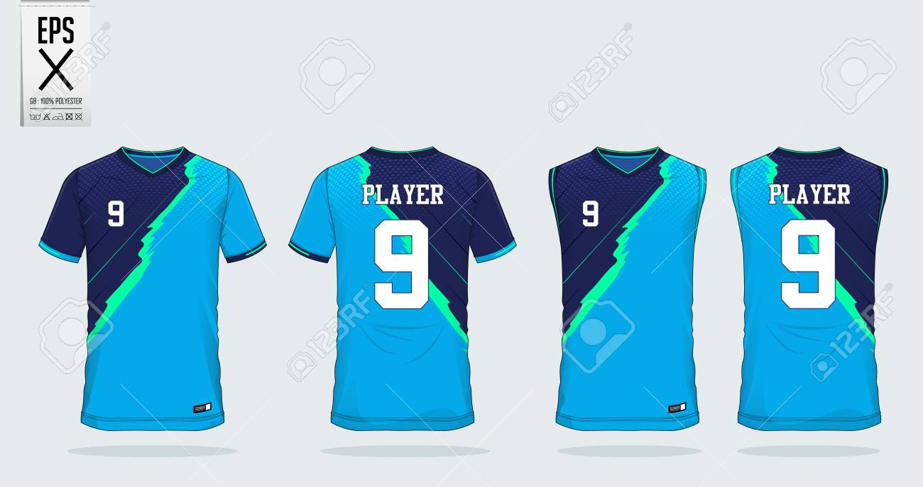 Blue Stripe Pattern T Shirt Sport Design Template For Soccer Royalty Free Cliparts Vectors And Stock Illustration Image 111005410