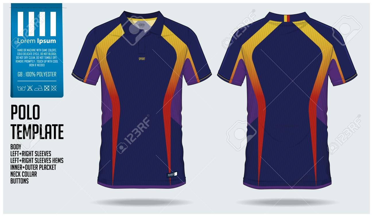 Blue polo t-shirt sport template design for soccer jersey, football..