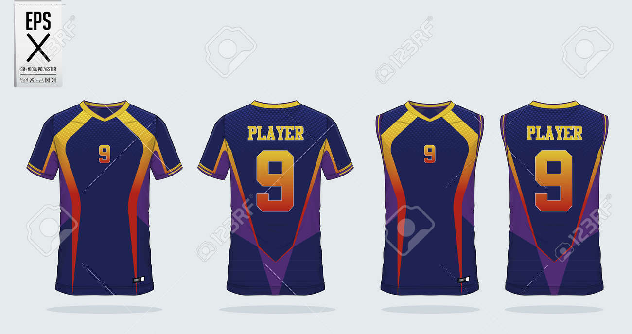 cheap for discount bc8f6 4b3cc Blue-Yellow-Violet t-shirt sport design template for soccer jersey,..