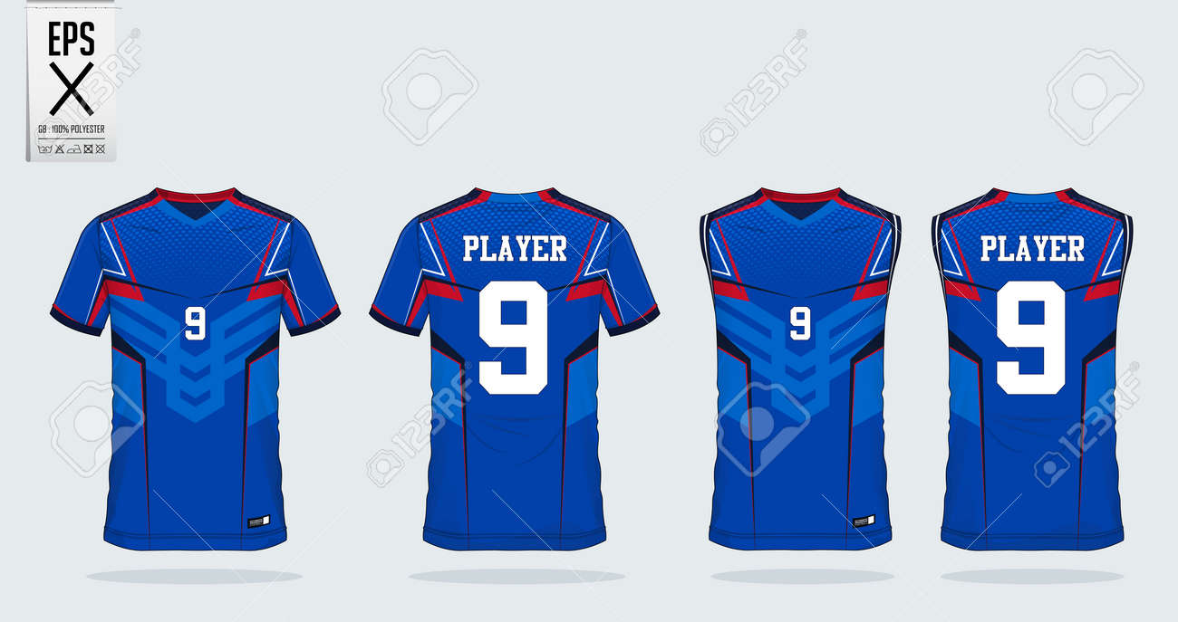 a73bf108e7f Blue-White-Red t-shirt sport design template for soccer jersey, football  kit and tank top for basketball jersey. Sport uniform in front and back  view.