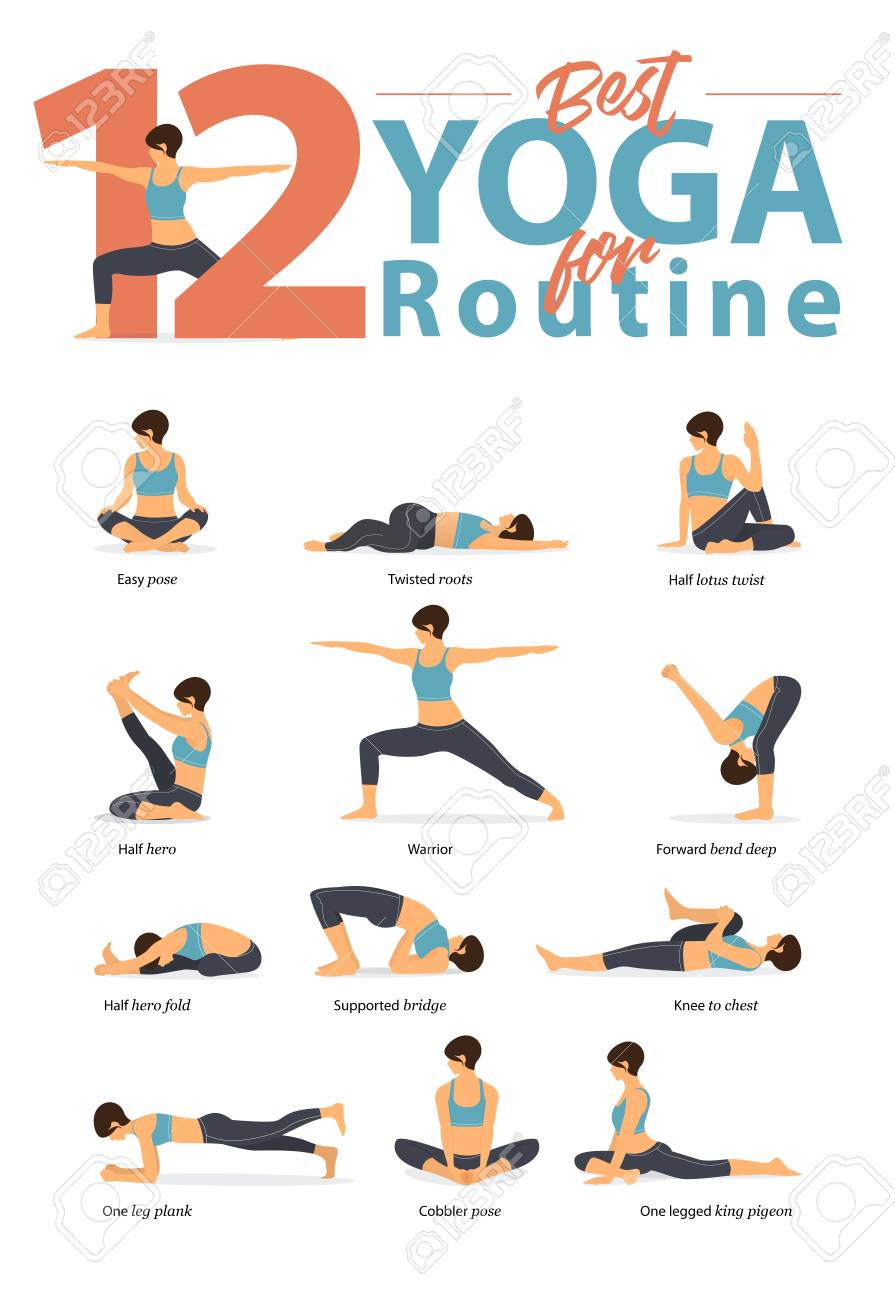 Set Of Yoga Postures Female Figures For Infographic 12 Yoga Poses For Routine Workout In Flat Design Woman Figures Exercise In Blue Sportswear And Black Yoga Pants Vector Illustration Ilustraciones Vectoriales Clip
