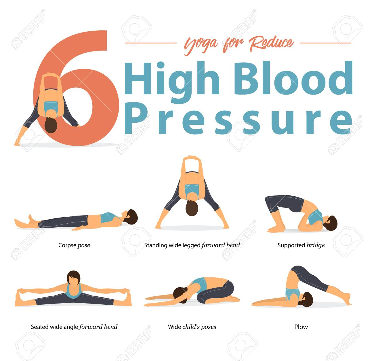 Set of yoga postures female figures for Infographic 6 Yoga poses for High blood pressure in flat design. Woman figures exercise in blue sportswear and black yoga pants. Vector Illustration. - 111572930