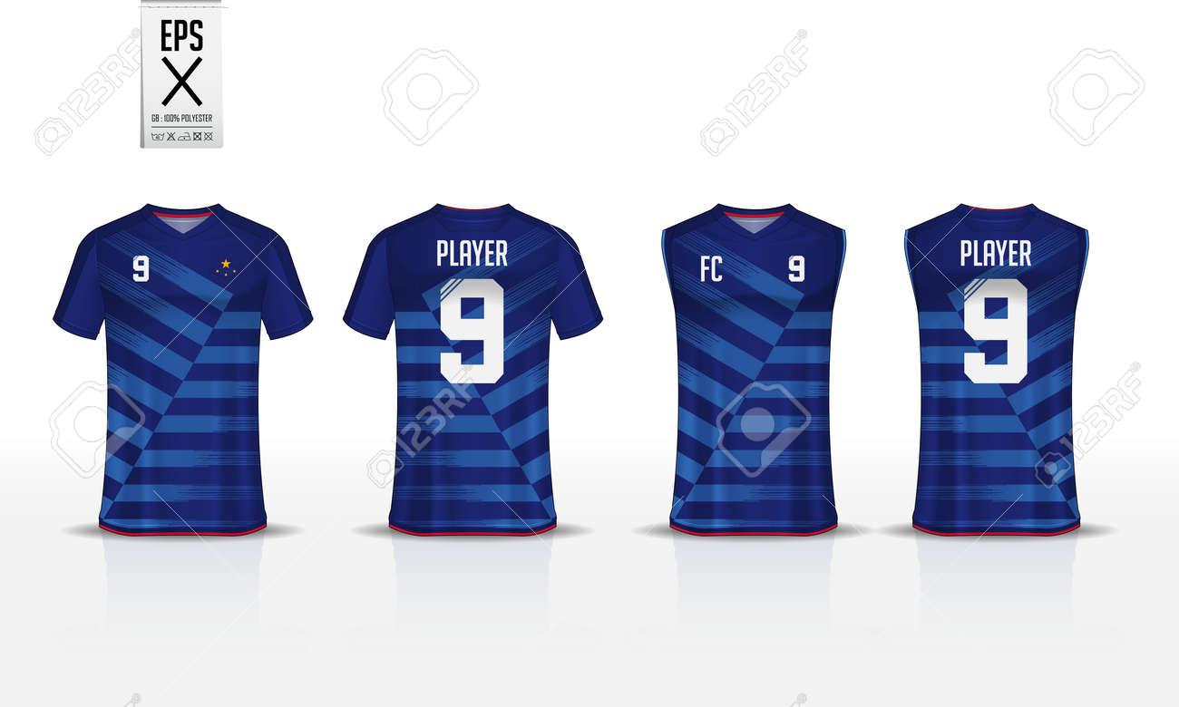 e4d99165e Blue stripe pattern t-shirt sport template design for soccer jersey