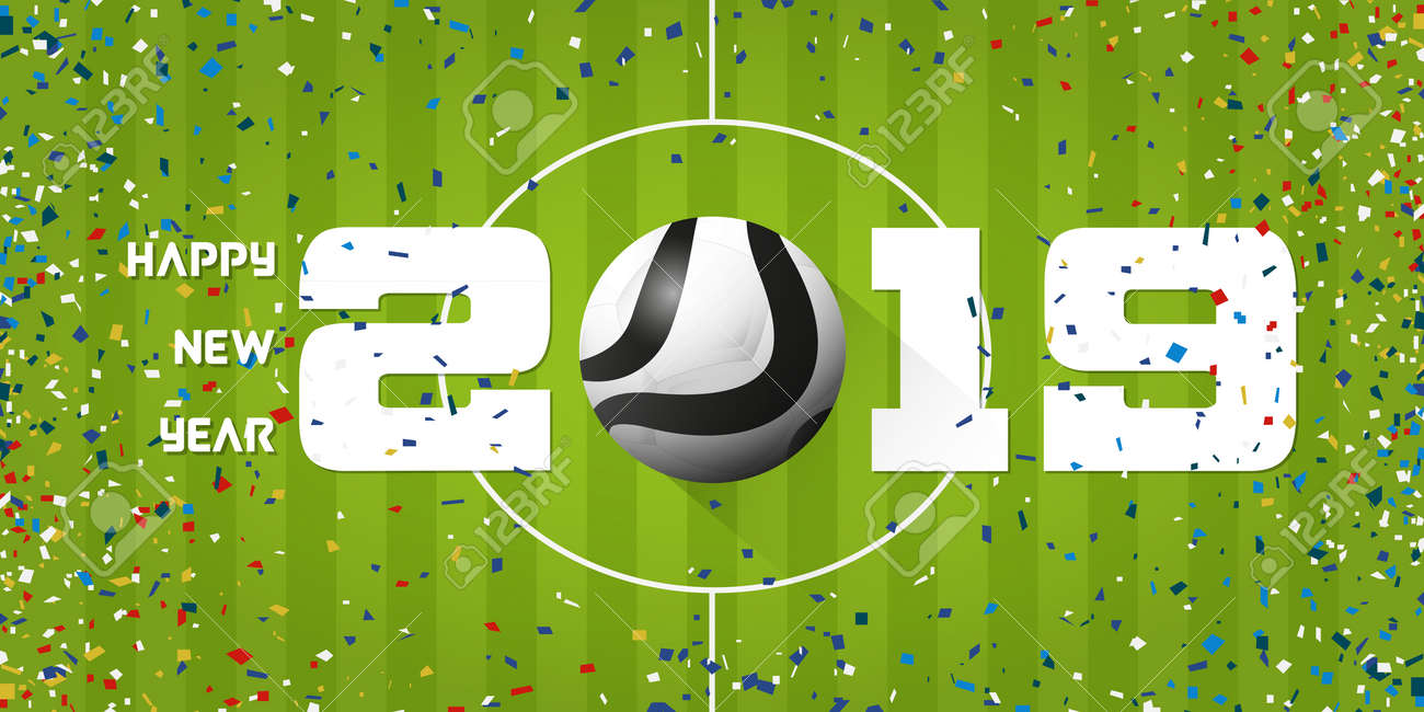 Happy New Year 2019 banner with soccer ball and paper confetti on soccer field background. Banner template design for New Year decoration in Soccer or Football Concept. Vector illustration. - 113957185