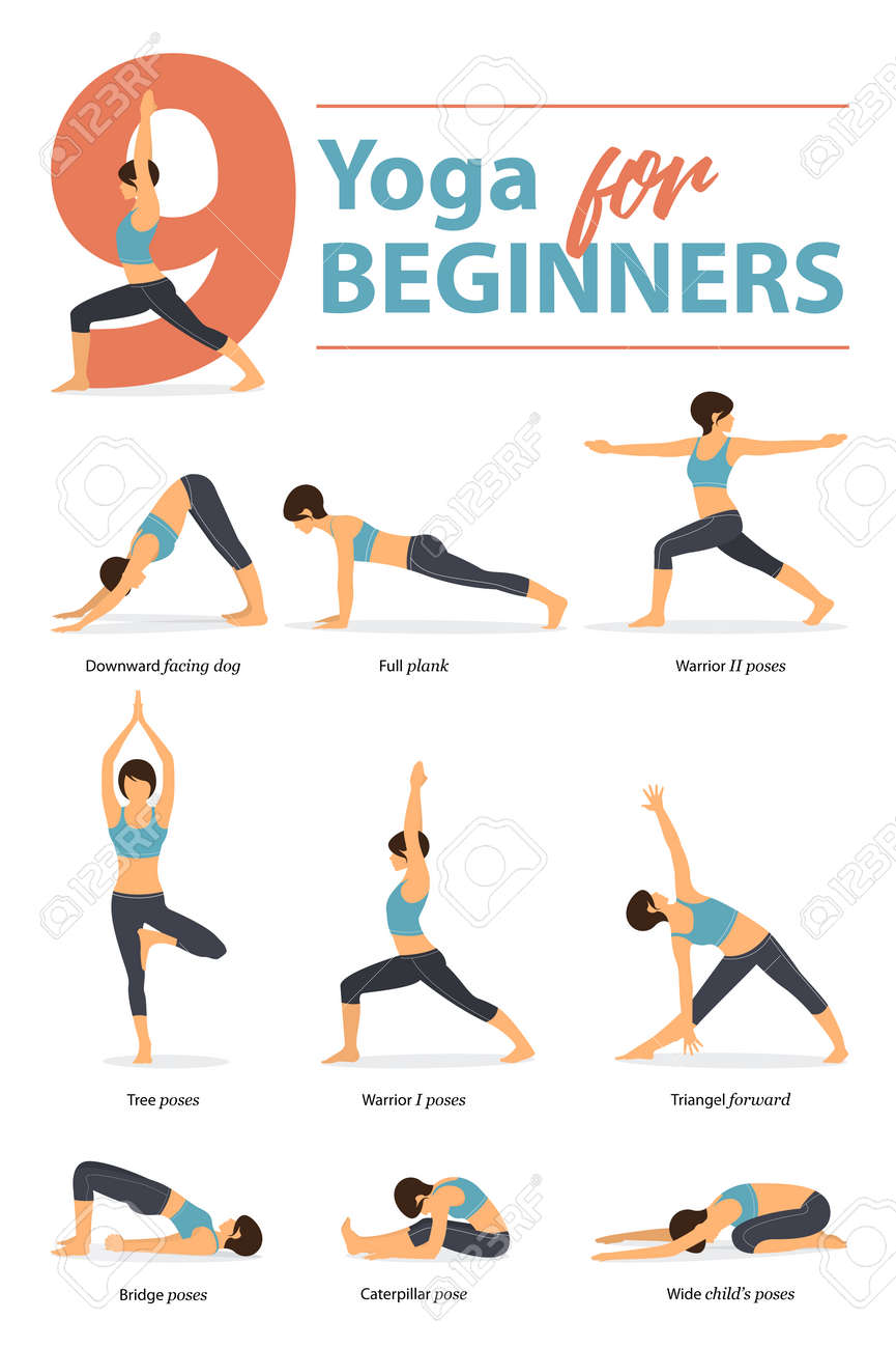 Set of yoga postures female figures Infographic 40 Yoga poses..