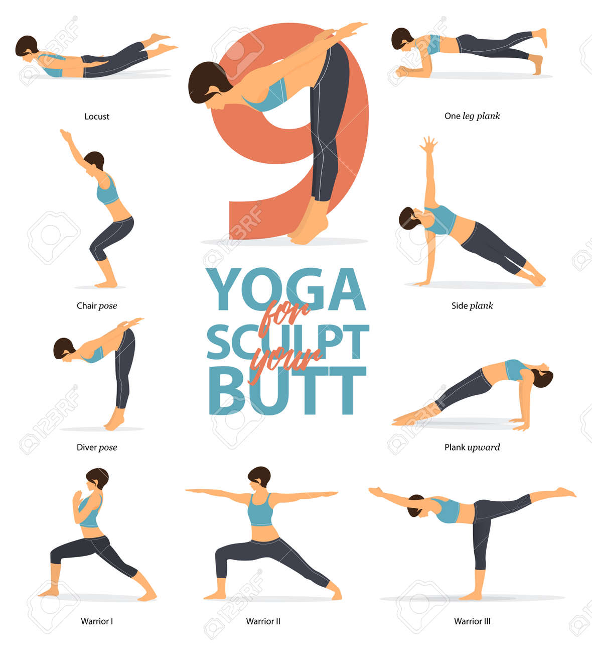 Set Of Yoga Postures Female Figures Infographic 6 Yoga Poses Royalty Free Cliparts Vectors And Stock Illustration Image 123158422