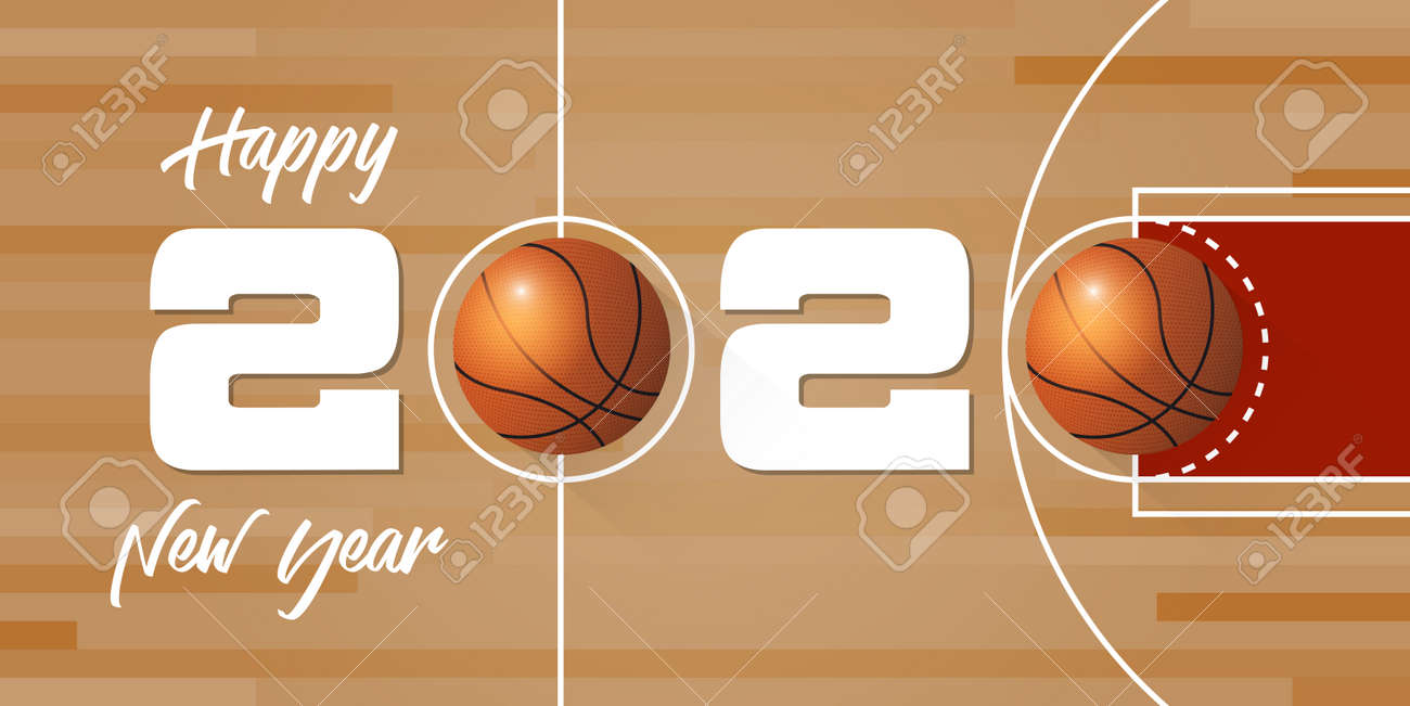 Happy New Year 2020 Banner With Basketball Ball And Paper Confetti Royalty Free Cliparts Vectors And Stock Illustration Image 134588285