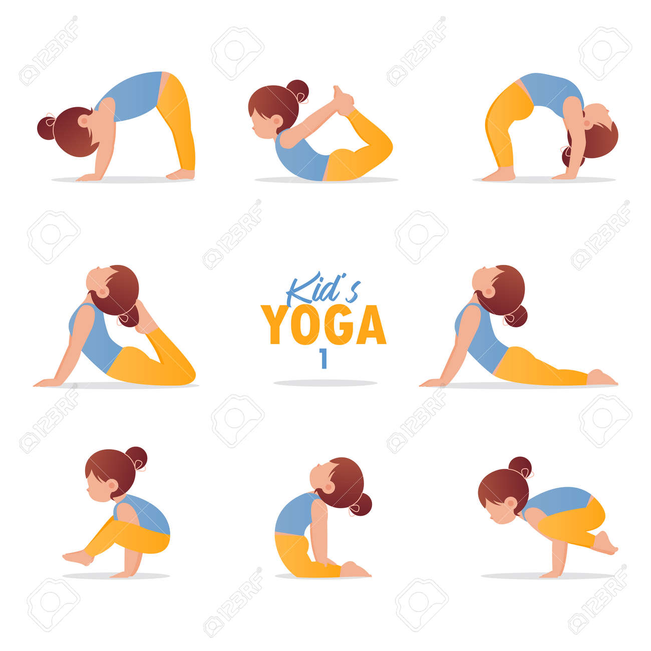 Kids Yoga Set Gymnastics For Children And Healthy Lifestyle Royalty Free Cliparts Vectors And Stock Illustration Image 138697429