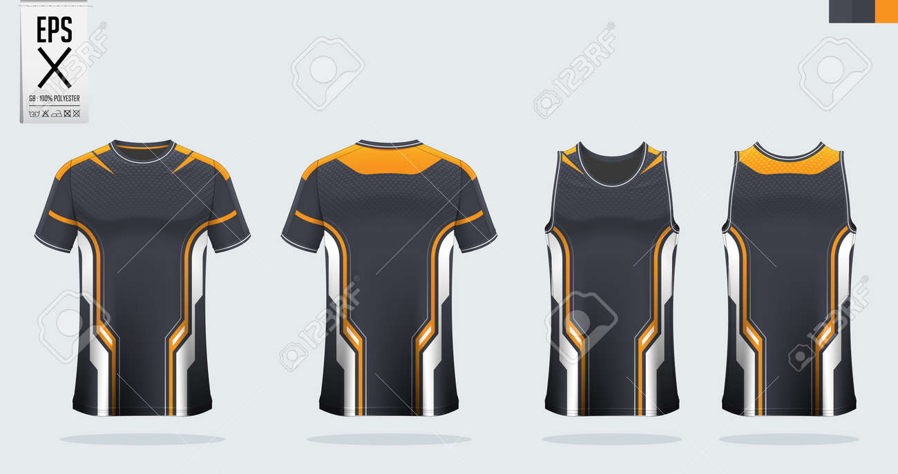 Black Orange T Shirt Sport Mockup Template Design For Soccer Royalty Free Cliparts Vectors And Stock Illustration Image 139468584