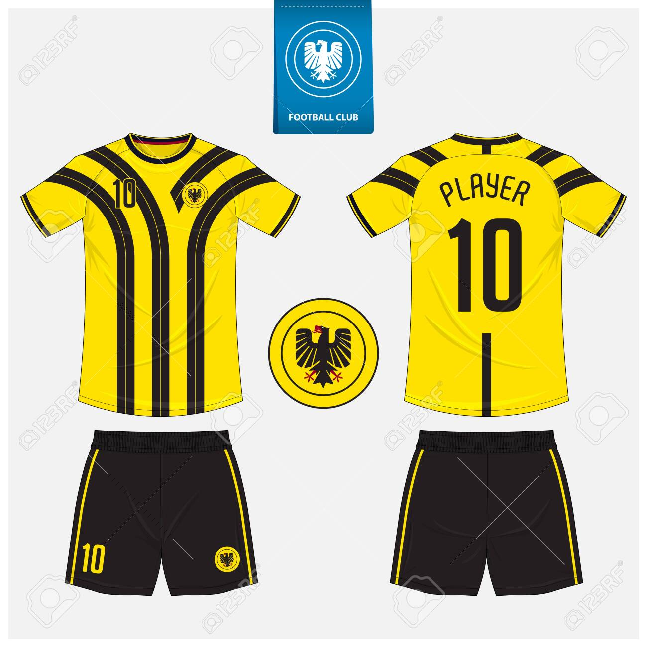 Soccer jersey or football kit mockup template design for sport club. Football t-shirt sport, shorts mock up. Soccer uniform in front view, back view . Football logo in flat design. Vector Illustration. - 141961749