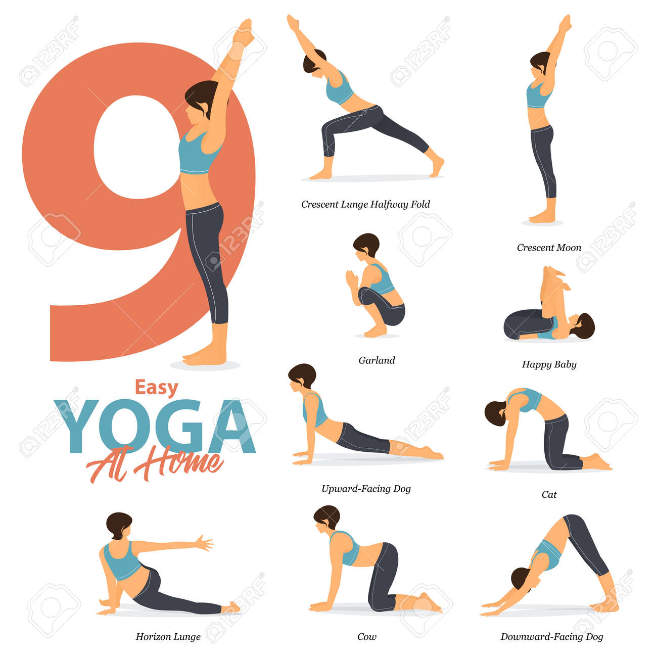 Infographic of 37 Yoga poses for Easy yoga at home in flat design