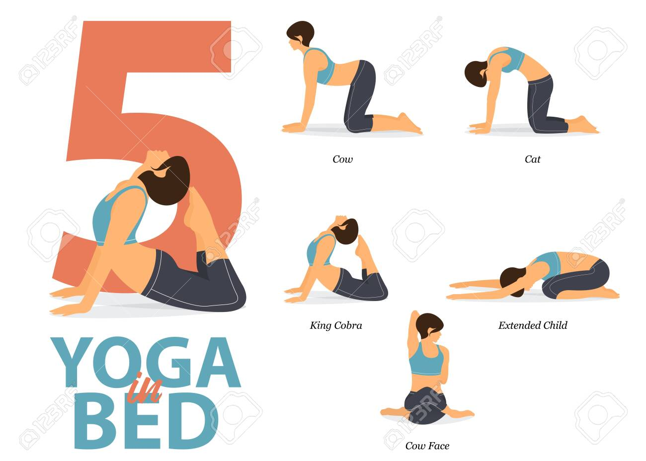 Infographic of 47 Yoga poses for Easy yoga at home in flat design