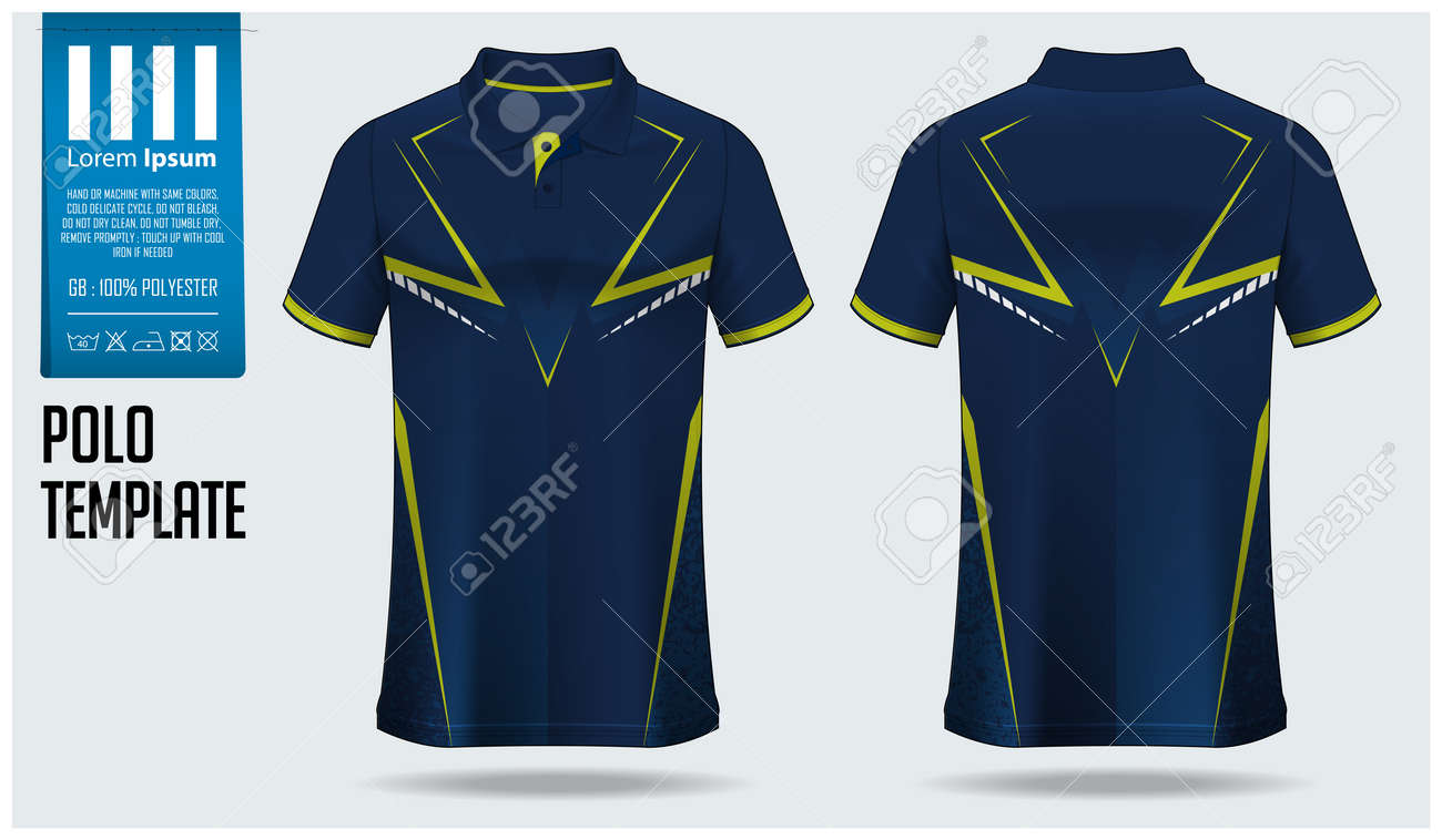 Polo shirt mockup template design for soccer jersey, football kit, sportswear. Sport uniform in front view, back view. T-shirt mock up for sport club. Fabric pattern. Shirt Mockup Vector Illustration. - 147233042