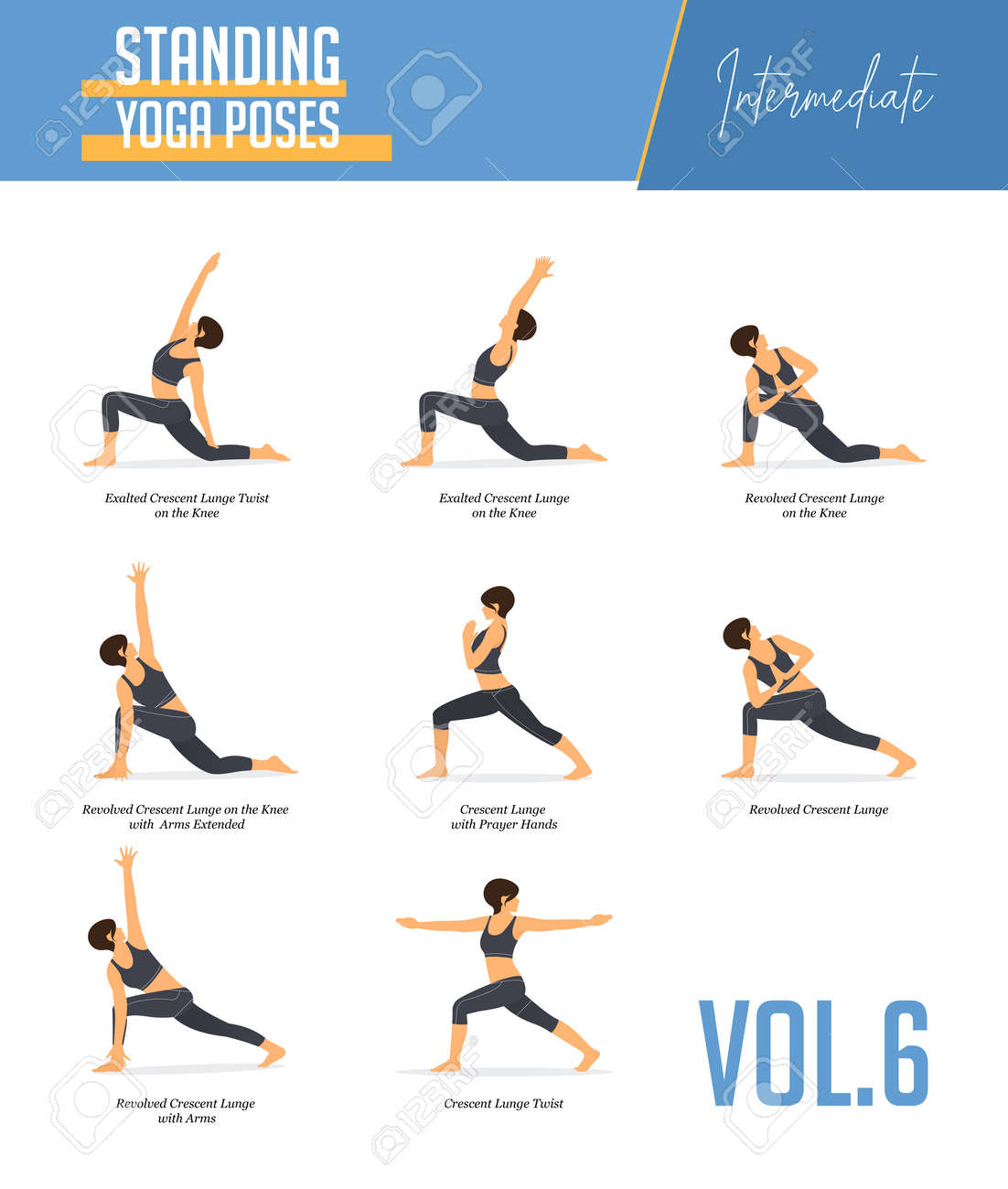 Set Of 50 Yoga Poses For Concept Of Balancing And Standing Poses In ...