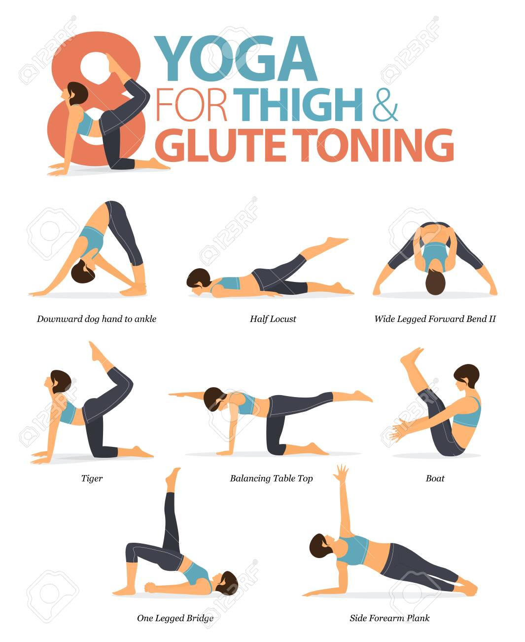 50 Yoga Poses Or Asana Posture For Workout In Thigh & Glute Toning ...