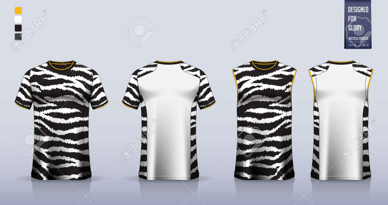 T-shirt mockup or sport shirt template design for soccer jersey or football kit. Tank top for basketball jersey or running singlet. Fabric pattern for sport uniform in front view back view. Vector. - 162714733