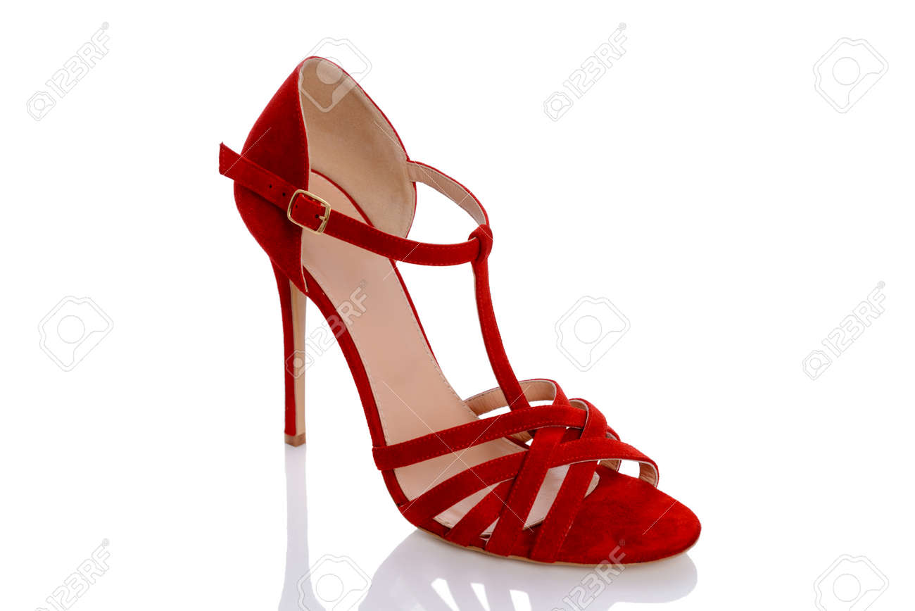 421a4837a2c6 a beautiful suede shoes in red on heel Stock Photo - 81556205