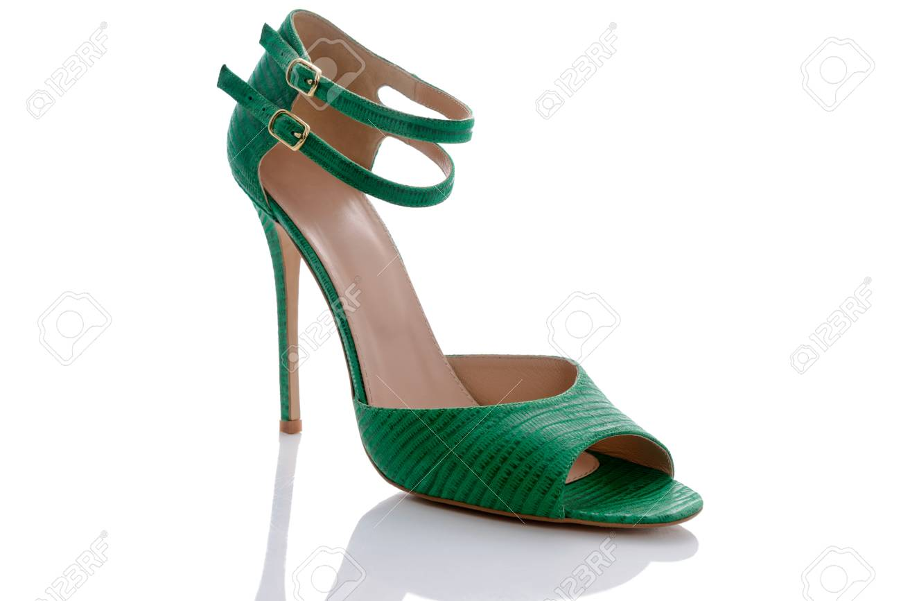 30085d71fffc green sandals with original double clasp printed Stock Photo - 81556209
