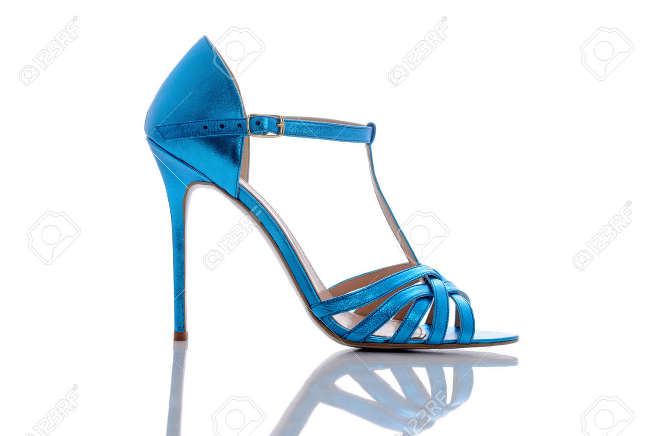 7fa88d729b69 beautiful bright blue sandals for modern and stylish Stock Photo - 82733548