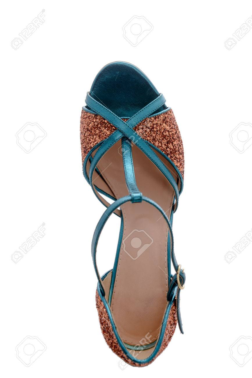126cf71ac929 fashion designer sandals with sparkles on heel Stock Photo - 82733570